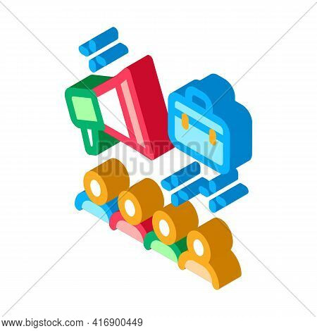 Advertisement Of Audit Company Color Icon Vector. Isometric Advertisement Of Audit Company Sign. Col