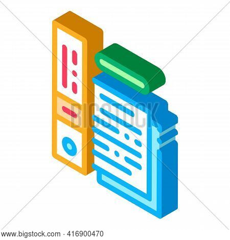 Electronic Documentation Of Audit Color Icon Vector. Isometric Electronic Documentation Of Audit Sig