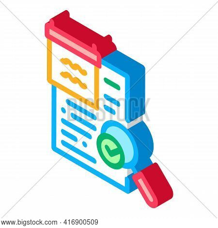 Researching And Accepting Finance Audit Color Icon Vector. Isometric Researching And Accepting Finan
