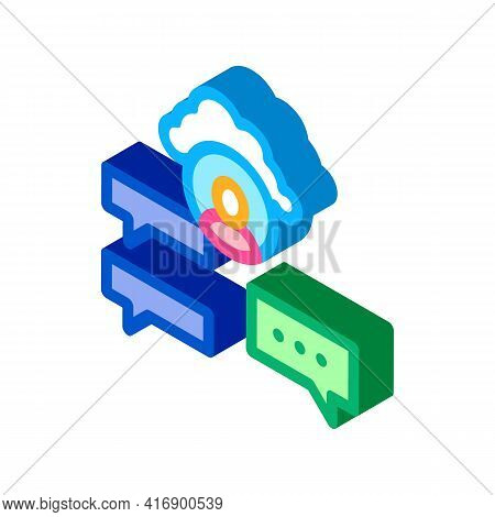 Cloud Storage And Sms Identity Color Icon Vector. Isometric Cloud Storage And Sms Identity Sign. Col