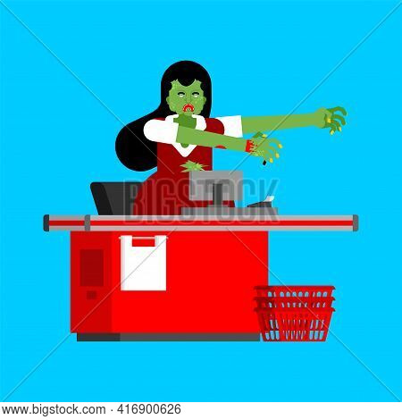 Cashier Zombie At Checkout Counter In Supermarket
