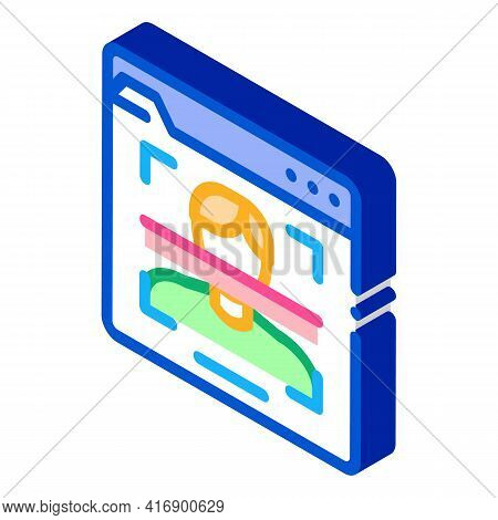Face Scanning Identity Color Icon Vector. Isometric Face Scanning Identity Sign. Color Isolated Symb