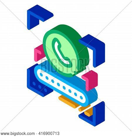 Call Password For Identity Color Icon Vector. Isometric Call Password For Identity Sign. Color Isola