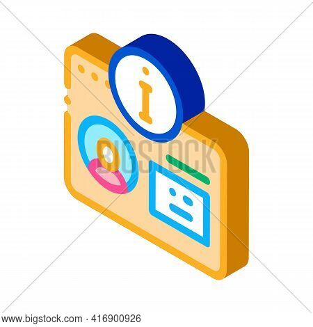 User Information For Identity Color Icon Vector. Isometric User Information For Identity Sign. Color
