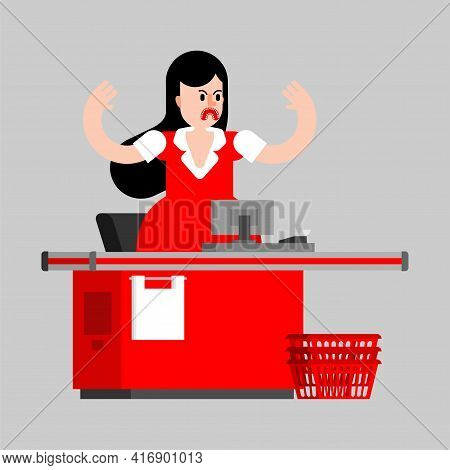 Angry Cashier At Checkout Counter In Supermarket