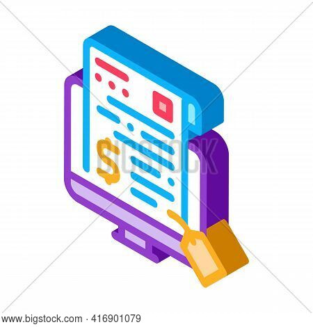 Electronic License Buying Color Icon Vector. Isometric Electronic License Buying Sign. Color Isolate