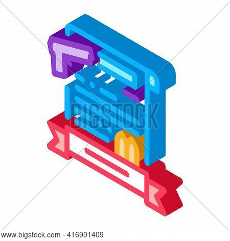 Weapon License Color Icon Vector. Isometric Weapon License Sign. Color Isolated Symbol Illustration