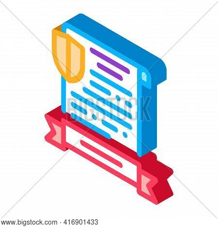 Insurance License Color Icon Vector. Isometric Insurance License Sign. Color Isolated Symbol Illustr