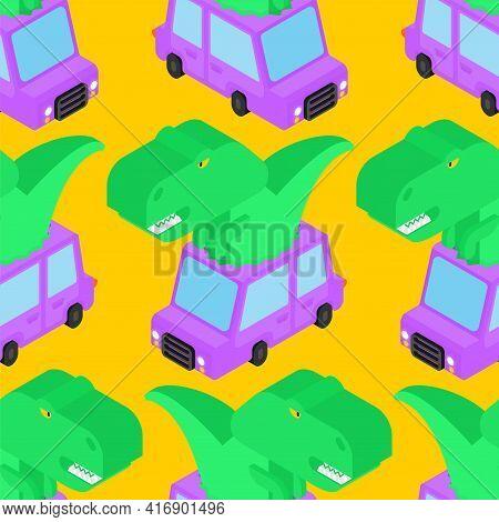 Dinosaur In Car Pattern Seamless. Tyrannosaurus Rides Auto Background. T-rex In Vehicle Texture. Bab