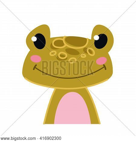Cute Bcute Baby Green Frog. Toad Avatar. Portrait Illustration Isolated On White. Design For Baby Pr