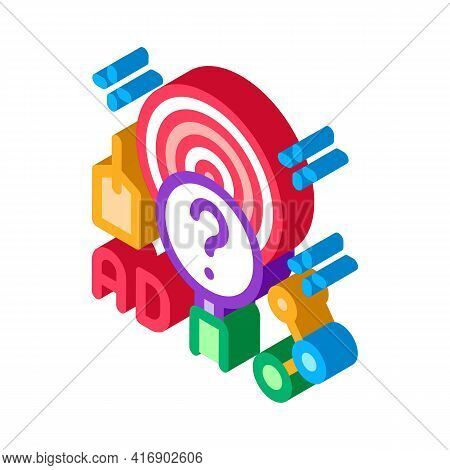 Marketing Researcher Color Icon Vector. Isometric Marketing Researcher Sign. Color Isolated Symbol I