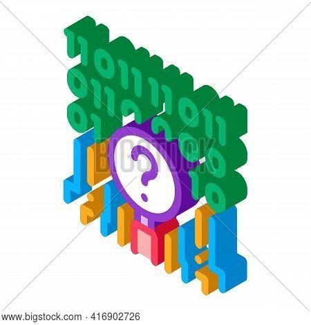 Digital Code Researcher Color Icon Vector. Isometric Digital Code Researcher Sign. Color Isolated Sy