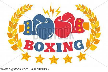 Vector Vintage Logo For A Boxing With Gloves. Vintage Logo For Boxing.
