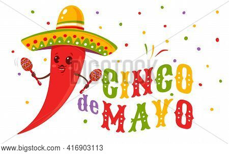 Vector Poster For Cinco De Mayo With Chili With Mexican Sombrero And Maracas. Cinco De Mayo Festive.