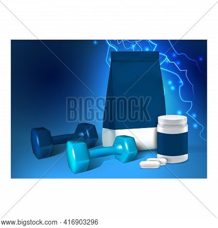Sports Supplements Nutrient Promo Banner Vector. Soy Protein And Bcaa Sports Supplements Blank Packa