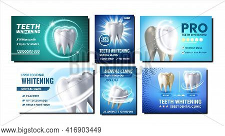Teeth Whitening Promotional Posters Set Vector. Professional Teeth Whitening Dentist Clinic Procedur