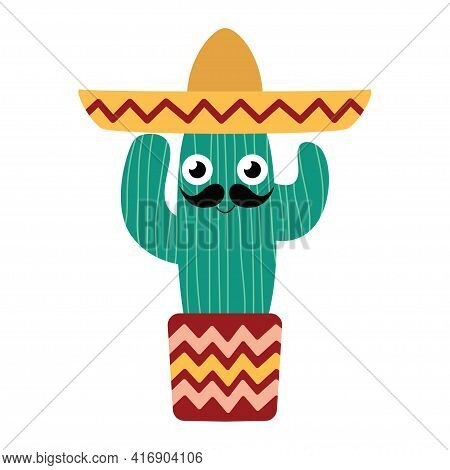 Cute Smiling Hand-drawn Striped Cactus Man With Sombrero And Big Mustaches In Flowerpot Isolated On