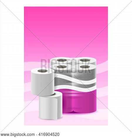 Toilet Paper Creative Promotional Poster Vector. Toilet Paper Blank Packaging Advertising Banner. Wc