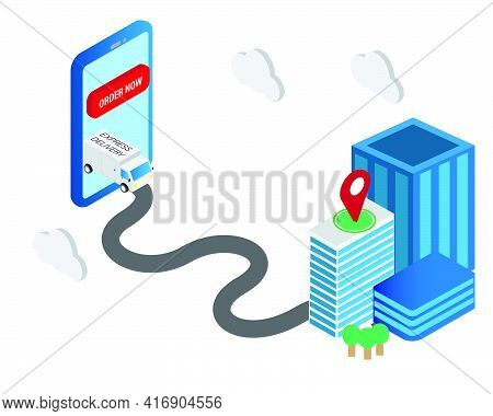 An Isometric Vector Of Delivery Truck Appear From Smartphone And On Progress Delivering The Parcel T