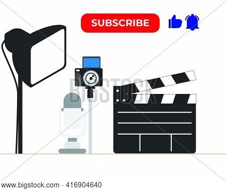A Vector Of Content Creator With Compulsory Equipment, Subscribe, Like And Notification Button.