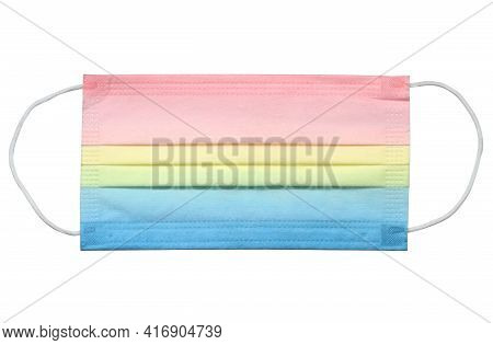 Colorful Face Mask Disposable (with Clipping Path) Isolated On White Background
