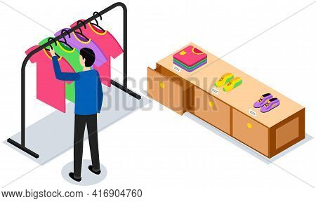 Shopping In Showroom. Isometric Clothing Store With Buyer. Man Chooses T-shirt In Boutique