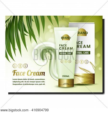 Face Cream Creative Promotional Banner Vector. Face Cream Blank Tube Package, Creamy Liquid And Tree
