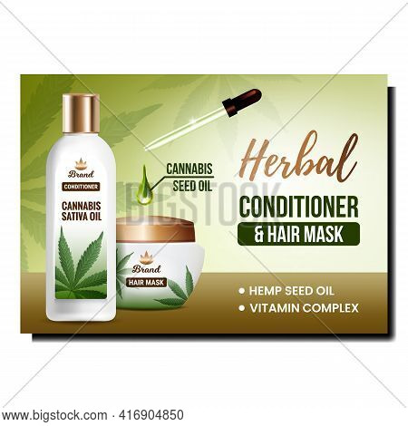 Herbal Conditioner Creative Promo Poster Vector. Herbal Conditioner And Hair Mask Blank Bottle And C