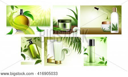 Herbal Cosmetic Promotional Posters Set Vector. Herbal Conditioner And Facial Mask, Perfume And Mice
