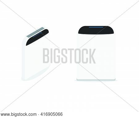 A Vector Of Flat And Isometric Smart Home Air Purifier On White Background