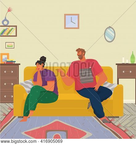 Young People Quarreling At Home. Man And Woman Couple In Bad Relationship, Family Altercation