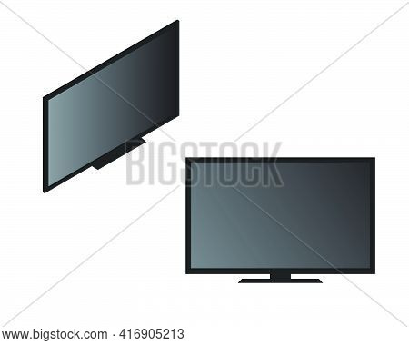 A Vector Of Flat And Isometric Smart Tv On Isolated White Background. Smart Tv Is Part Of Internet O