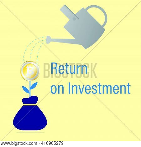 A Vector Of Bitcoin And Water Can Symbol As Return On Investment. Trading Bitcoin Is Starting Giving