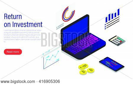 A Vector Of Cryptocurrency Trading With Return On Investment And Read More Tab. Cryptocurrency Is Ma