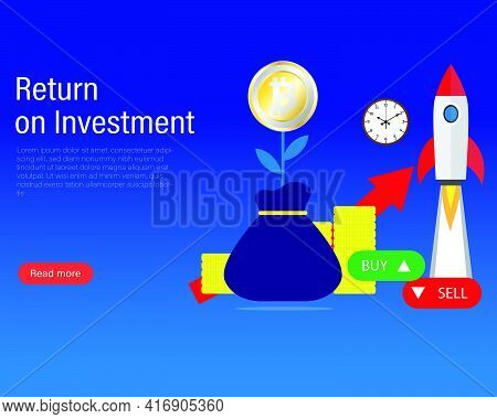 A Vector Of Bitcoin In Tree Shape, Bag, Clock, Coin, Graph And Rocket As Return On Investment Concep