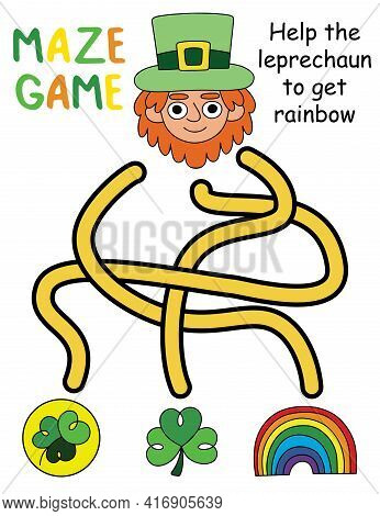 Happy Colorful Maze Game With Leprechaun Stock Vector Illustration - Printable Activity Page For Kid