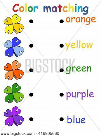 Color Matching Educational Game For Children With Five Clovers And Colors Vertical Printable Activit