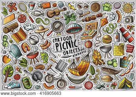 Cartoon Set Of Picnic Theme Items, Objects And Symbols