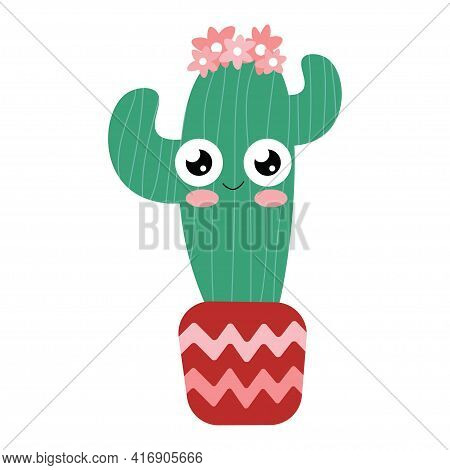 Cute Cactus Girl With Bloom Head In A Flower Pot Stock Vector Illustration. Funny Hand Drawn Bloomin