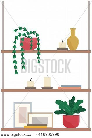 Shelves With Books, Potted Plants, Candles, Paintings And Vases. Shelving For Items And Decor