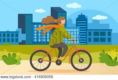 Girl Riding In Park. Woman Rides Bicycle On City Road. Female Character Doing Sports Outdoors