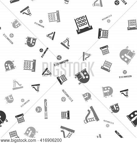 Set Tic Tac Toe Game, Kid Slide, Playground Pipe And Baseball Bat With Ball On Seamless Pattern. Vec