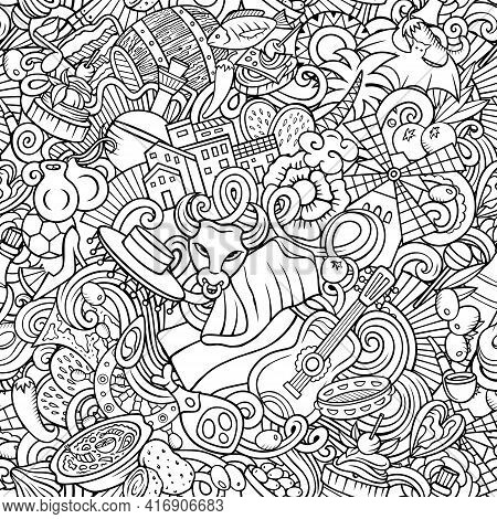 Cartoon Doodles Spain Seamless Pattern. Backdrop With Spanish Culture Items