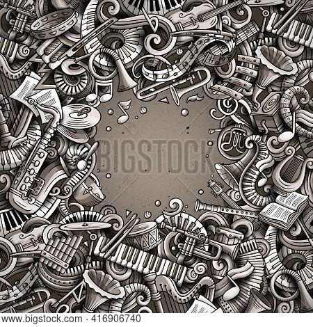 Cartoon Vector Doodles Classic Music Frame. Graphic, Detailed, With Lots Of Objects Background. All