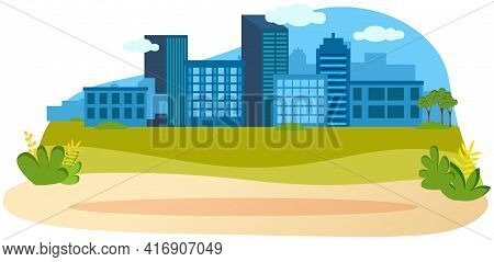 Tall City Buildings And Houses On Horizon. Urban Landscape, Large High-rise Blue Constructions