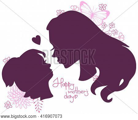 Vector Silhouette Of Mother And Daughter Looking At Each Other With Love On A Background Of Flowers