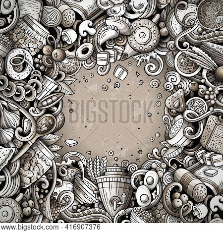 Cartoon Vector Doodles Russian Food Frame. Monochrome, Detailed, With Lots Of Objects Background. Al