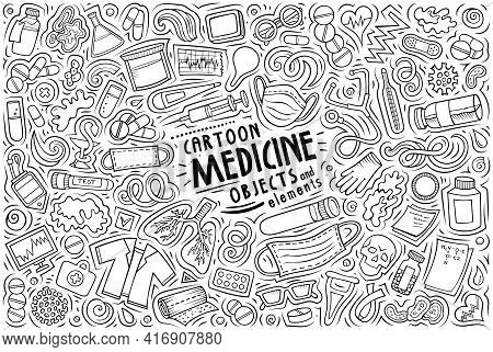 Cartoon Set Of Medicine Theme Items, Objects And Symbols