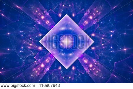 Abstract Illustration Of A Magic Crystal With A Bright Star Inside Inscribed In A Flower From Contou