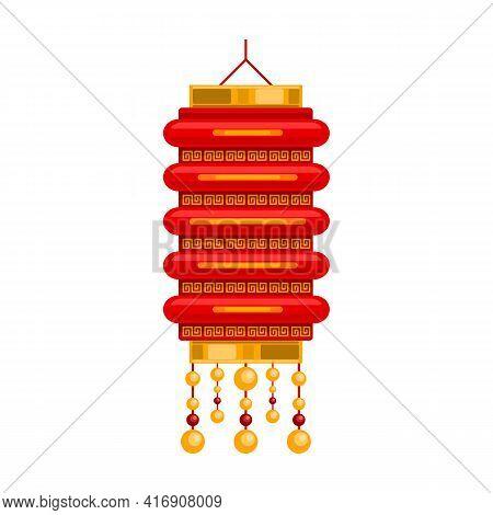 Lantern Of Chinese Cartoon Vector Icon.cartoon Vector Illustration Red Lamp. Isolated Illustration O